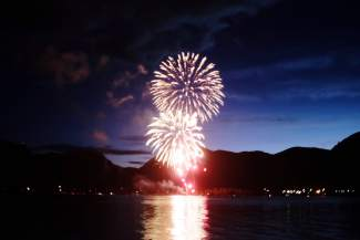 Fireworks begin over Lake Dillon in Frisco on Monday night.