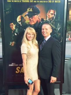 """Capt. Jaime Fitzsimons, of the Summit County Sheriff's Office, and his wife, Lena, at the premiere of """"Sabotage"""" in Los Angeles. FitzSimons served as a law enforcement consultant on the film. It was the fifth movie he's worked on."""