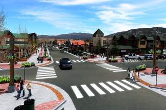 """This conceptual drawing shows what Frisco's Main Street will look like after the town completes its """"Step Up Main Street"""" project in 2016. The town will start construction Tuesday, July 29, 2014, with a celebratory """"curb breaking."""""""