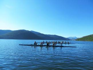 Crews with the Colorado Junior Team of Boulder trains on Lake Dillon in mid-August.