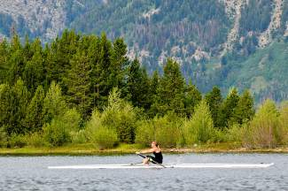 Former U.S. Olympic rower Peggy Bailey enjoys a solo trip on Lake Dillon in 2014. Bailey was a member of the very first women's Olympic rowing team in 1976, shortly after she won the U.S. National Championship with the University of Wisconsin crew.