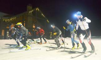 Skiers take off from the Frisco Adventure Park start line for the first Frisco Ski Mountaineering race on Jan. 27. The race was held after dark, just as temperatures started to dip into the teens and single digits.