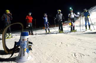 Skiers in the first Frisco Ski Mountaineering race stay warm at the start line before the gun on Jan. 27. The race drew about 10 racers and was the final event in the town's four-part intro to skimo series.