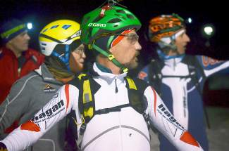 Competitors in the first Frisco Ski Mountaineering intro race survery the course through the dark before taking off from the start line at Frisco Adventure Park on Jan. 27. The race drew about 10 athletes from Summit County, including a former U.S. Ski Team member and Summit High School student.