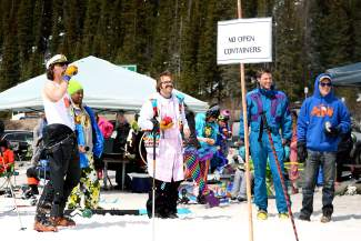 Employees of other local ski resorts were prohibited from skiing or riding at Arapahoe Basin Ski Area on Wednesday, April 1, 2015, as the ski areas have tried to rein in Gaper Day festivities over the years citing concerns about safety and harassment.