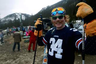 Josh O'Brien, 27, of Breckenridge, wore three pairs of sunglasses and carried too-tall ski poles during Gaper Day festivities at Arapahoe Basin Ski Area on Wednesday, April 1, 2015.