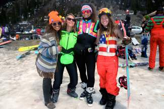 From left to right, Becca DeGrate, 26, of Breckenridge, Emma Paul, 29, of Lakewood, Bianca Germain, 26, of Highlands, and Andrea Belbusti, 26, of Denver, gathered at Arapahoe Basin Ski Area on Wednesday, April 1, 2015.