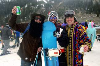 Breckenridge roommates Sylas Stansfield, 25, Skylar Ray, and Kyle Brochu, 25, took part in Gaper Day festivities at Arapahoe Basin Ski Area on Wednesday, April 1, 2015.