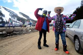 Jake Hensley, left, 22, of Denver, and Jared Berman, 24, of Summit Cove, dressed up for Gaper Day at Arapahoe Basin Ski Area on Wednesday, April 1, 2015.