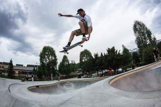 Z Griff ollies the cone for Go Skateboarding Day 2016 at the Breckenridge Skate Park on June 21.