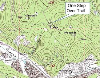 Location of the One Step Over trail in the Golden Horseshoe system.