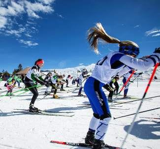 Athletes take off during the mass start for the 10K classic race at the Gold Run Rush in Frisco last season. Now in its 46th year, the event is a fundraiser for Summit Nordic Ski Club on Jan. 9.