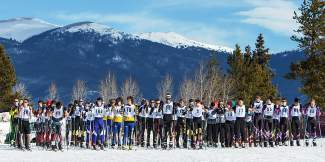 Skiers get ready for the mass start of the 10K Nordic race at the Gold Run Rush in Frisco last season. Now in its 46th year, the event is a fundraiser for Summit Nordic Ski Club on Jan. 9.