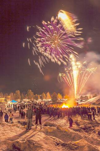 Spectators watch fireworks at the annual Spontaneous Combustion event in Frisco, part of the Gold Run Rush fundraiser for Summit Nordic Ski Club at the Frisco Peninsula on Jan. 9.