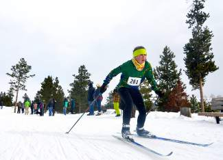 A Summit Nordic Ski Club athlete powers through the final 100 meters at the Gold Run Rush races in Friscon on Jan. 9. The event drew nearly 600 competitors, including rouhgly 385 high school and middle school skiers from across the state.
