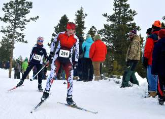 Two Nordic skiers stay close in the final stretch of the 10K race at the Gold Run Rush in Frisco on Jan. 9.