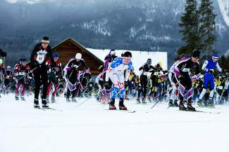 Skiers take off from the starting line at the Gold Run Rush Nordic races in Friscon on Jan. 9.