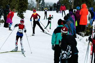 Middle school skiers come into the final stretch at the Gold Run Rush Nordic races in Frisco on Jan. 9.