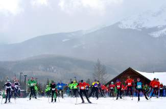 Middle school Nordic skiers take for a mass start at the Gold Run Rush in Frisco on Jan. 9. Now 46 years old, the event is the longest-running Nordic series in the state and drew roughy 600 people on cloudy and chilly morning.
