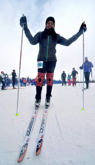 Summit local Tonia Williamson gets ready for the 3K citizen race at the Gold Run Rush in Friscon on Jan. 9. Williamson is an avid stand-up paddleboard racer and decided to try Nordic this season for the first time ever.