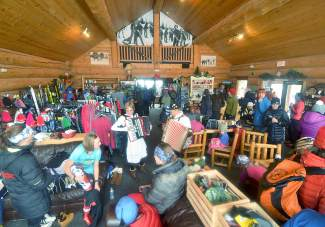 A jam-packed Frisco Nordic center between age divisions at the Gold Run Rush on Jan. 9, complete with traditional Austrian music performed live.