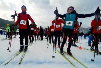 Middle school athletes with a Colorado ski club get ready for the mass start at the tail end of the Gold Run Rush in Frisco on Jan. 9.