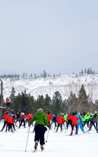 Middle school skiers at the Gold Run Rush Nordic races take off on a 10K course around the Frisco peninsula. The race drew 385 high school and middle school athletes, plus roughly 250 locals and other community racers.