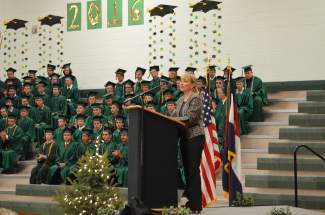 Summit School District Superintendent Heidi Pace shared advice for the graduates as the look toward the future. Pace has served with the district for five years, and will serve as a professor at Colorado College next fall.