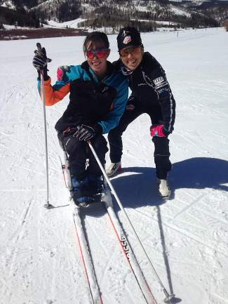 Granby's Joy Rondeau (left) with U.S. Olympian Liz Stephen during a training session last season. Rondeau was recently invited to join the U.S. Paralympics developmental team for adaptive Nordic and biathlon athletes.