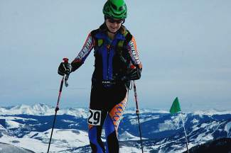 Nikki LaRochelle at a COSMIC series ski mountaineering race earlier this season. LaRochelle and her race partner, Eva Hagen, took second for female racers and eigth overall at the 2016 Elk Mountain Grand Traverse.