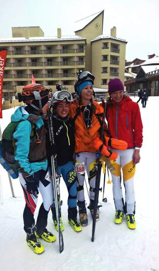 The two top women's teams at the 2016 Elk Mountain Grand Traverse (from left): Eva Hagen, Jessie Young, Lindsay Plant and Nikki LaRochelle at the finish. Summit's Hagen and LaRochelle took second in their first-ever attempt at the ski mountaineering race.