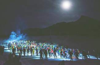 Skimo racers take off from the starting line at the 2016 Elk Mountain Grand Traverse, simply known as The Grand Traverse, held at Crested Butte on March 25.