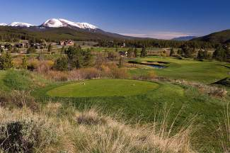 Hole 9 on the Beaver Course at Breckenridge Golf Club. The 195-yard Par 3 is the prime canditate for a hole-in-one — if you can pinpoint the tiny green. The club is scheduled to open two courses, the Beaver 9 and Elk 9, by Memorial day. The Bear 9 will open soon after when irrigation work is finished.