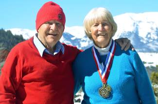 Werner and Isolde Haas, both 87, outside of their part-time home in Summit Cove with views of Red Mountain. The two Austrian natives have lived and worked in the U.S. since shortly after World War II and still ski with their grandchildren — and great-grandchildren.