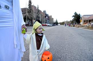 The force is strong with Sienna Rudolph, a 2-year-old who dressed up as Jedi maser Yoda for Halloween in Breckenridge on Friday, October 31. Do the voice, she can, but shy she is, her parents say.