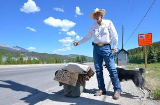 At age 57, after not hitchhiking for 30 years, Brian Raines, of Texas, returned to the life of a rambling cowboy. Last Thursday he found himself just north of Breckenridge on State Highway 9.