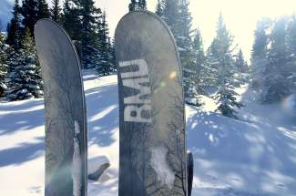 The Rocky Mountain Underground Carbon Apostle at the base of Baldy Mountain. The ski features RMU's signature five-point design and carbon inserts for backbone without extra weight.