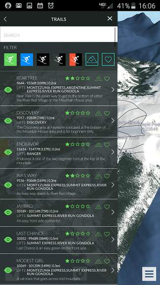 The pop-up trail menu for Keystone Resort in the FATMAP mobile app. The app lets skiers filter trails by difficulty and terrain type.