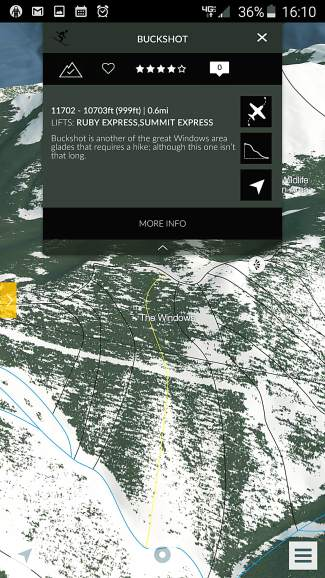 The shortened pop-up description for Buckshot (a black run in The Windows) at Keystone Resort in the FATMAP mobile app. The brief description appears when users click on an individual run.