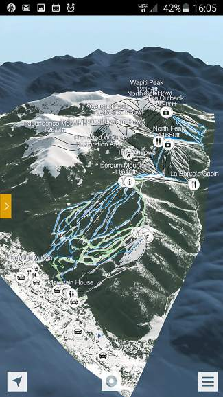 A 3D rendering of Keystone Resort's front side through the FATMAP mobile app.