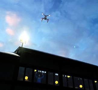 The Chroma Drone in action. The drone can fly several hundred feet above ground level and comes with a rechargeable battery made to handle sub-zero conditions.