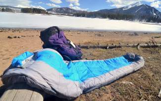 The Peregrine Saker zero-degree sleeping bag. The bag weighs 4 pounds, 3 ounces and packs to about the size of a microwave, making it better suited for short trips instead of long, extended treks.