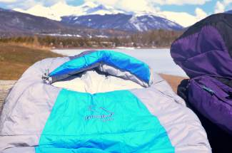 The hood on the Peregrine Saker zero-degree sleeping bag. The bag is slightly larger than similar mummy models, measuring 32 inches across at the shoulders and 20 inches deep at the chest.