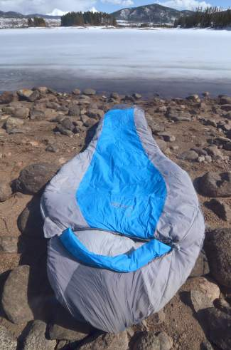 The Peregrine Saker zero-degree sleeping bag. The bag is a perfect introduction bag for hut trips and car camping in just about any weather Colorado can muster.