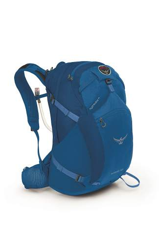 The men's Osprey Skarab 32 day pack ($120) in basin blue.