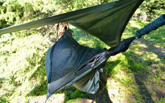 The Hennessy Expedition Asymmetrical Zip hammock in the field. The hammock from Canadian manufacturer Hennessy Hammocks is lightweight, comfortable and designed for veteran outdoorsmen.
