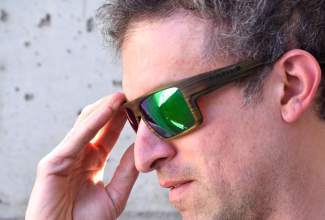 The Eldo polarized sunglasses in wood from Native Eyewear. The frames come standard with interchangeable lenses (high light and low light) featuring with the Colorado manufacturer's signature polarized technology, which cuts through light noise to make objects pop in shadows on the river or in the woods.