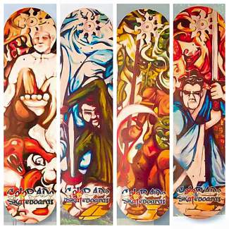 The samurai deck series from Colorado Skateboards of Eagle. Founder Rob Bak worked with artist Lane Whiteside to create a four-part series that combines to make a single painting.