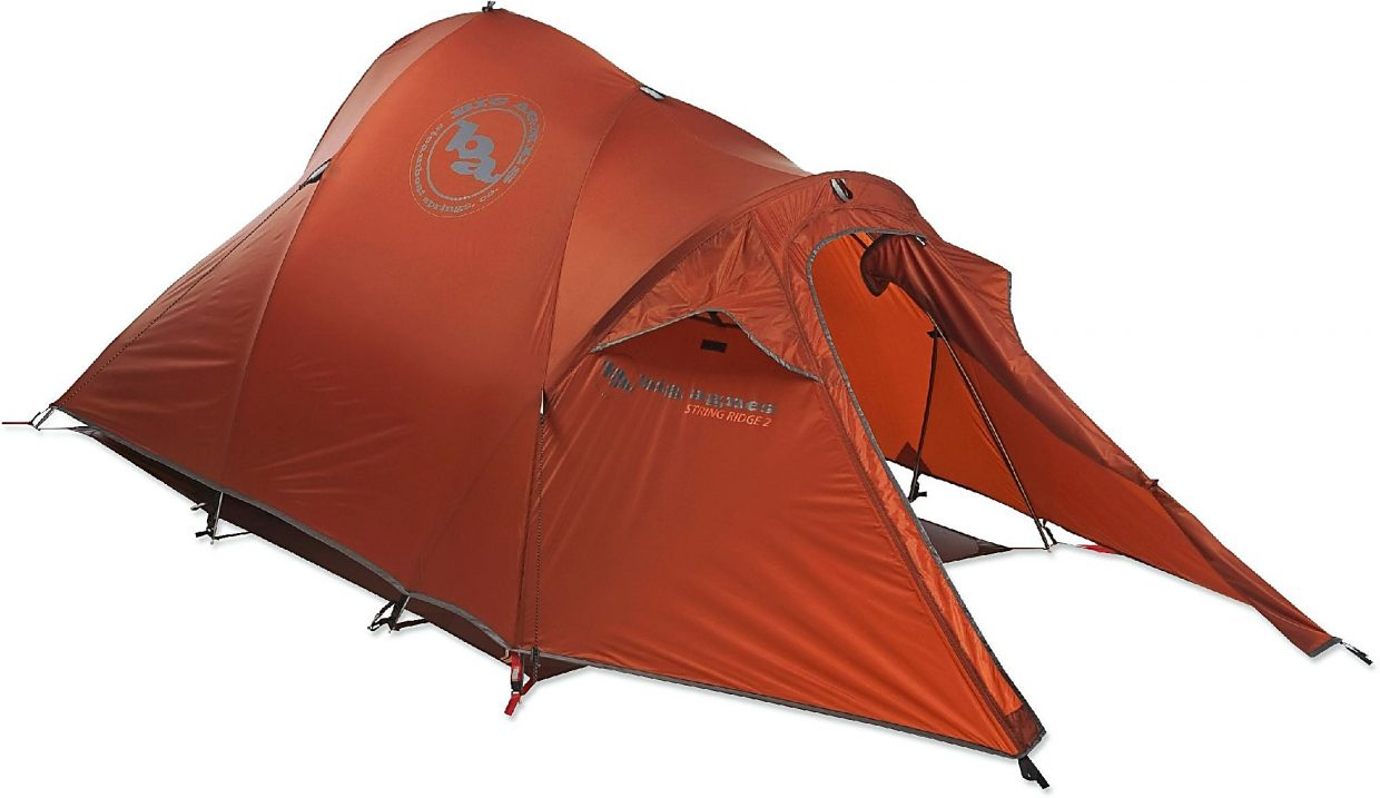The String Ridge 2 tent from Big Agnes, with rainfly and extended vestibule.