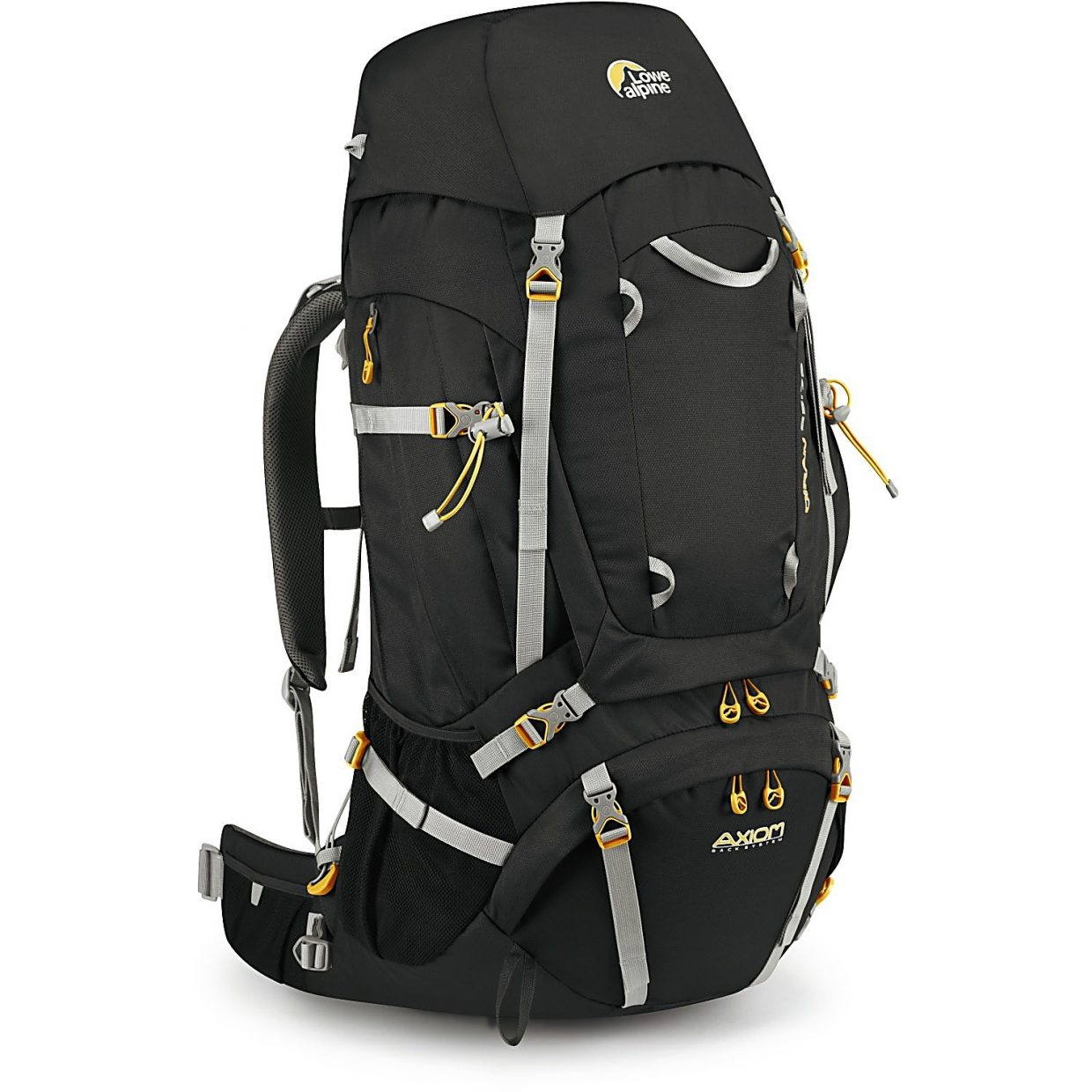 The Lowe Alpine Diran 65 pack, a multi-purpose trekking pack with a sliding adjustment system and expandable interior pockets for up to 75 liters.